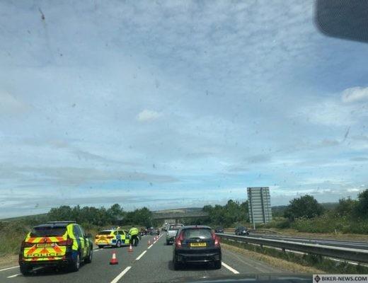 A30 closed after crash involving three bikers