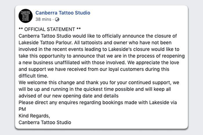 Canberra Tattoo Studio, formally Lakeside Tattoo Parlour, rebranded on Facebook.