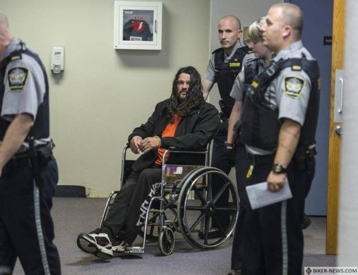 Ontario Hells Angels member Mark David Heickert is wheeled out of Dartmouth provincial court in November 2017 after his arraignment on drug conspiracy charges