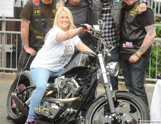 Cheryl Whyte (front) with Daryl Corbett, Ade Passey, Kiah Passey and Nick Lawson, with a West Coast Chopper