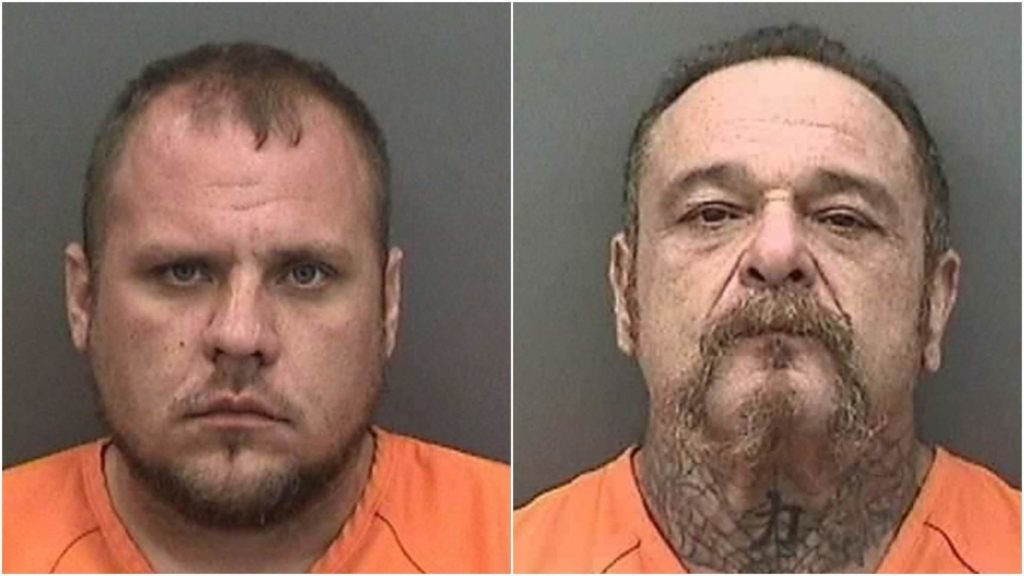 "Christopher ""Durty"" Cosimano, 31, left, and Michael ""Pumpkin"" Mencher, 52, are both alleged members of the ""Killsborough"" chapter of the 69'ers Motorcycle Club. Both went on trial in federal court this week in the 2017 assassination of a gang rival: Paul Anderson, 44, president of the rival Cross Bayou chapter of the Outlaws Motorcycle Club. [Pasco County Sheriff's Office]"
