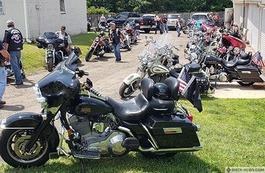 A large number of motorcycles are seen at the Jackson Elks Lodge 2477 following a ride held as part of the 7th Annual Jim Hall Memorial Benefit for Homeless Veterans held last month. (Photo by Bob Vosseller)