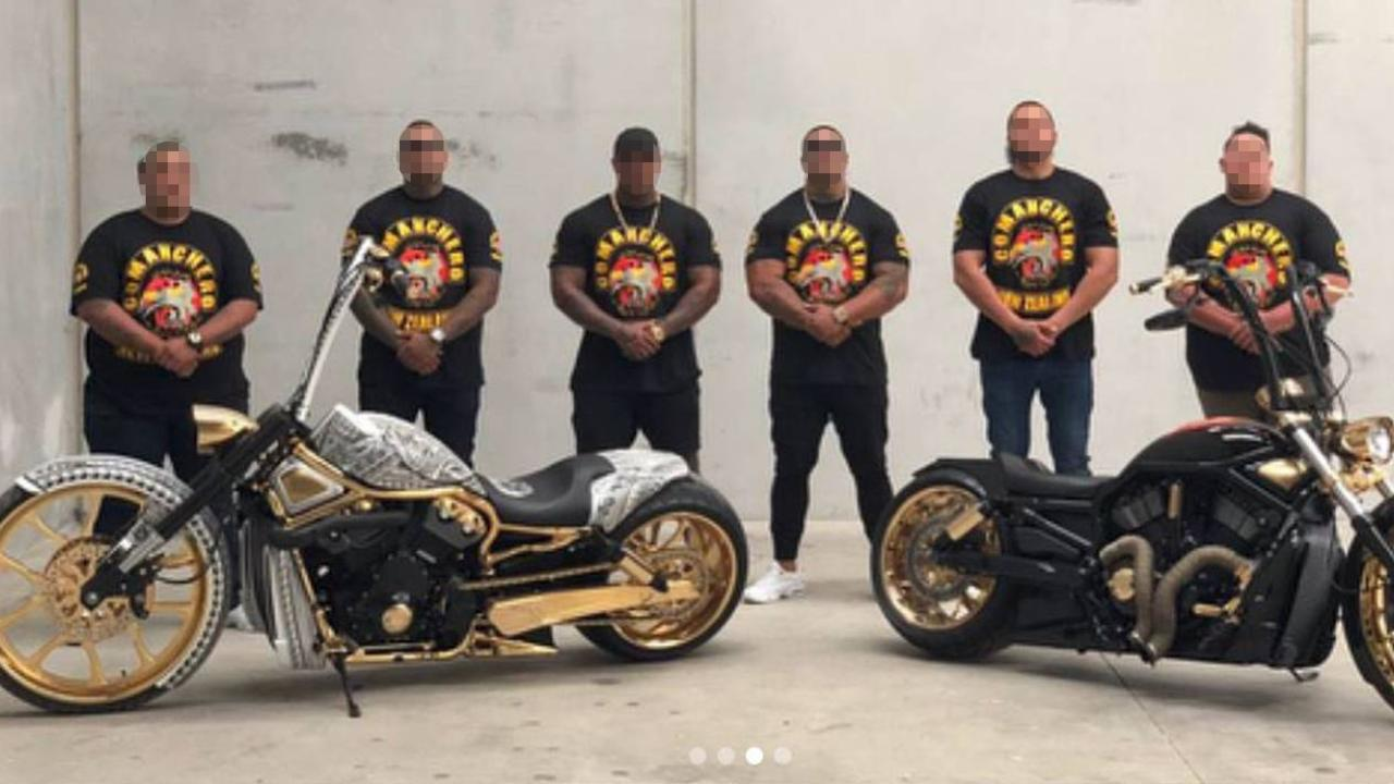 Deported Comanchero bikies pose with gold-plated bikes in a social media post mocking Australia's policy of kicking out Kiwis on character grounds. Picture: Supplied