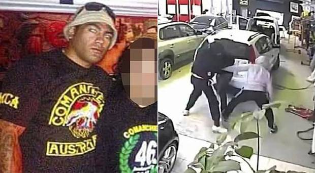 Vincent Meyer - dressed in black - stomps on his helpless victim in a brazen attack in 2014. he was then picked up in NZ in 2018 on a false passport. Photo / CCTV