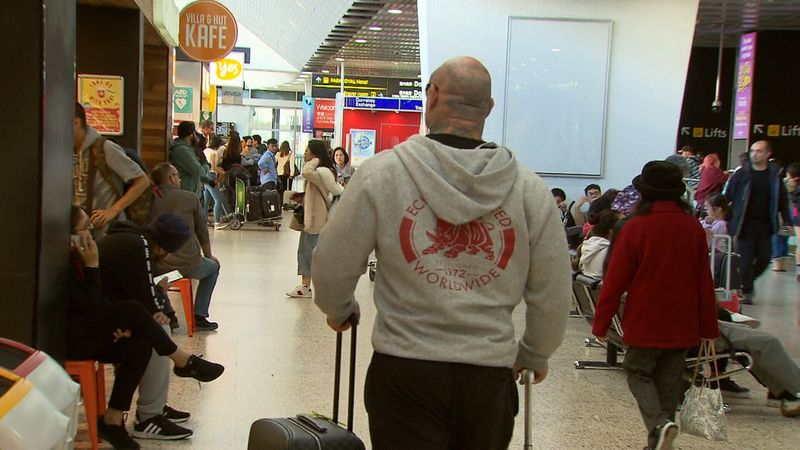 Mick Murray was forced to return to Australia after being refused entry to Thailand when he arrived there. (9News)