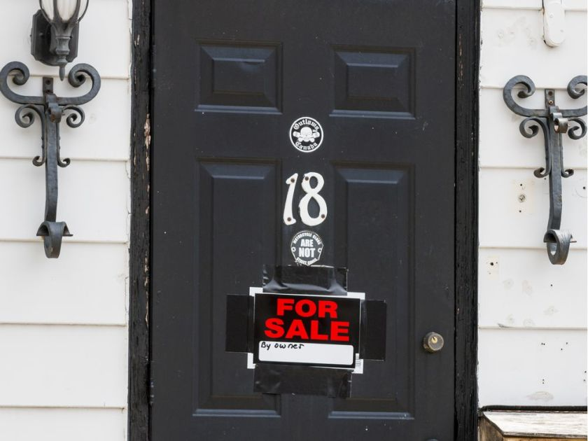 The Outlaws clubhouse at 18 Ladouceur Street in Ottawa with a ForSale by owner sign on the front door. August 12, 2019. Errol McGihon/PostmediaERROL MCGIHON / POSTMEDIA
