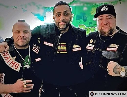 VANCOUVER, B.C., MARCH 30, 2017 ó New members of the Hardside chapter of the Hells Angels, left to right: Chad Wilson (formerly of the Haney chapter), Suminder Grewal (formerly of the Haney chapter) and Jamie Jaimie Yochlowitz (formerly of the Vancouver chapter). Photo credit: Special to Postmedia