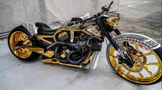 A goldplated Harley Davidson was among the $4m assets seized following raids on the Comancheros gang in April. Photo / Supplied