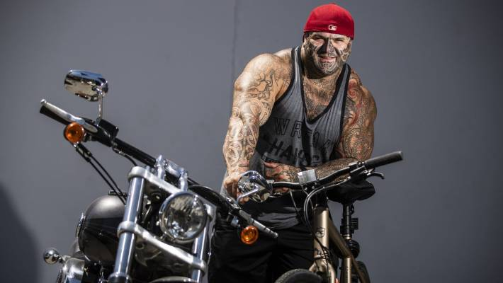 Former national president of the Bandidos, Hamish Hiroki is cycling to Bluff on December 3 to raise money for a night shelter for homeless he is building.