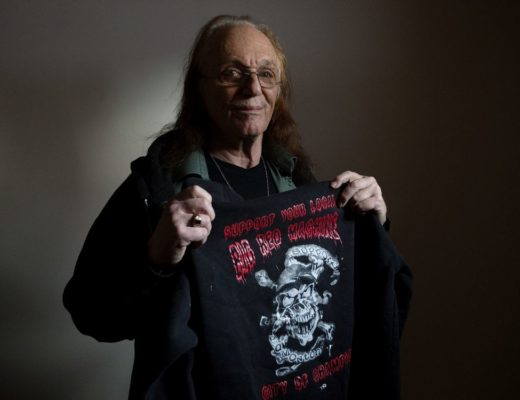 Dr. Paul Sussman poses for a photo in his Edmonton home, Thursday Jan. 2, 2020. In 2016 Sussman was arrested at West Edmonton Mall for wearing a Hells Angels support sweatshirt (pictured). The 74-year-old psychologist has since taken legal action against the mall, claiming the officers who dealt with the trespassing complaint against him refused to investigate his assault complaint against mall security. Photo by David Bloom
