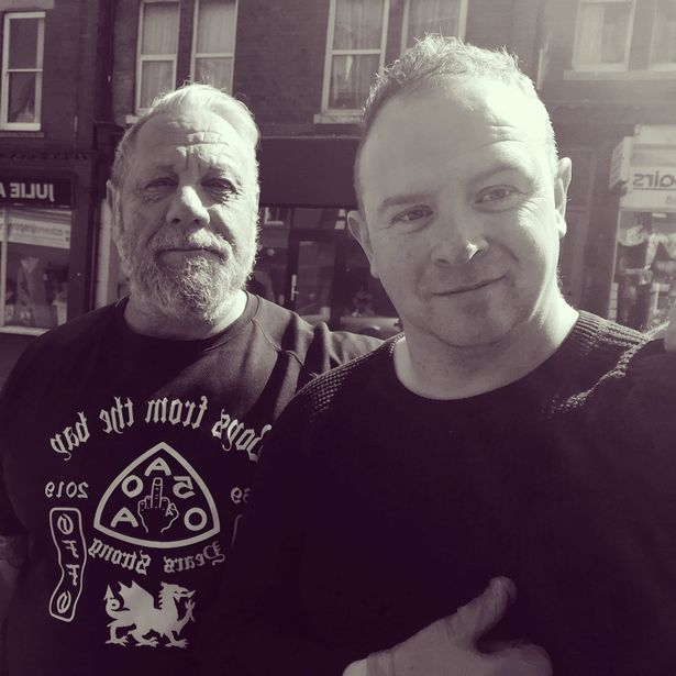 Outlaw biker boss Dink with Paul Clifford, they have both been shocked by how many people in Colwyn Bay suddenly need food parcels, sparked by the Covid-19 crisis.
