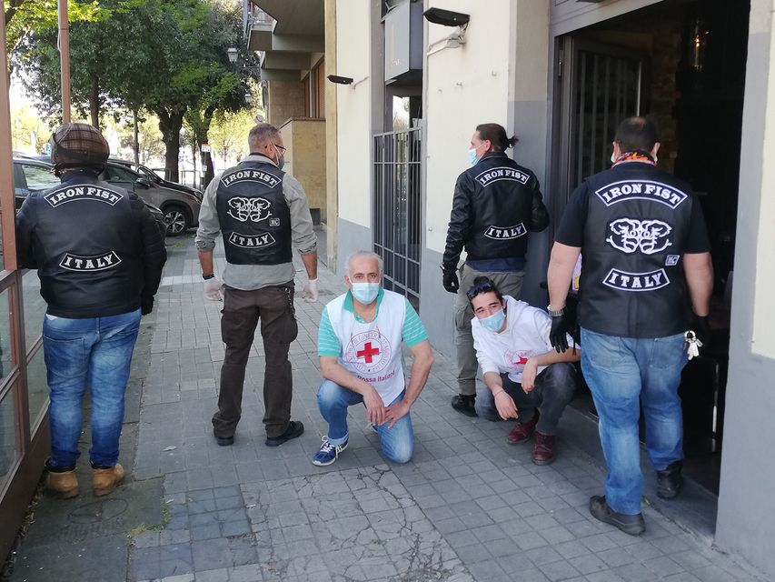 Red Cross and Iron Fist members