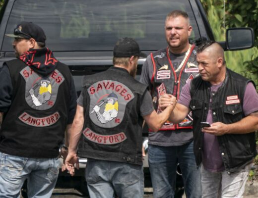 Langford Savages attend the funeral of murdered Hells Angel Suminder (Allie) Grewal in Delta on Aug. 16, 2019. RICHARD LAM / PNG