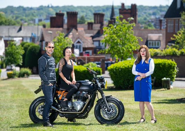 Doctor Sharon Raymond (right) with founders of the Bike Shed motorbike club Dutch and Vikki van Someren