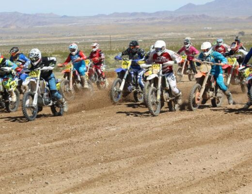 Riders start a race during the 2019 Hilltoppers motorcycle races in Twentynine Palms.