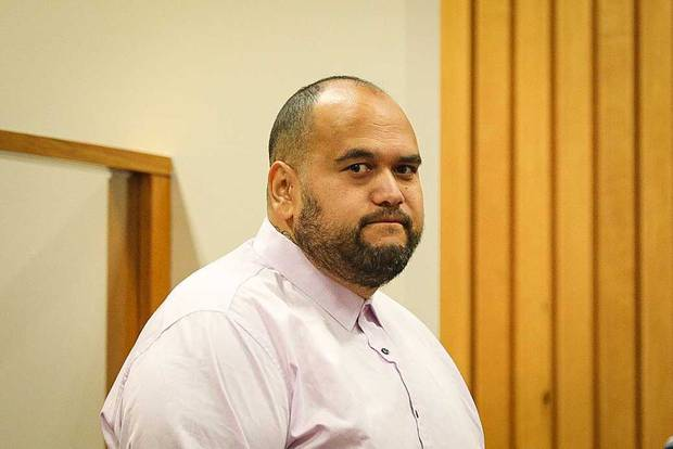 Senior patched Head Hunter Stacy Paora at his sentencing in the High Court at Rotorua. Photo / Andrew Warner