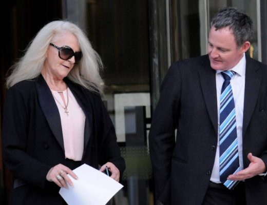 Sharon Ann Stott outside the ACT Supreme Court with her barrister, Steven Whybrow. Picture: Blake Foden