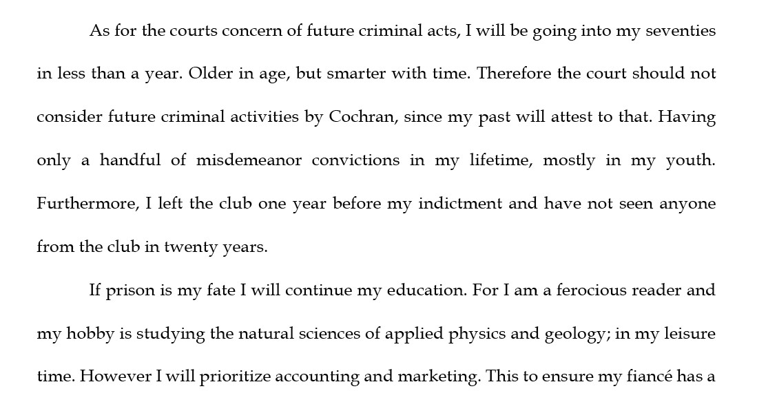 A portion of Orville Cochran's letter, submitted Dec. 31, 2018, to U.S. District Judge Lynn Adelman in Milwaukee.