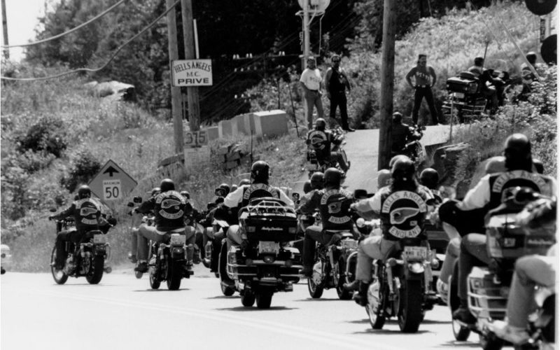 Sherbrooke Hells Angels arrive at the Lennoxville clubhouse for the 1992 World Run. Grant Simeon